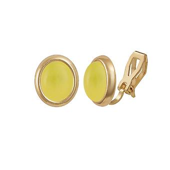 Eternal Collection Minuet Honey Yellow Quartz Gold Tone Stud Clip On Earrings