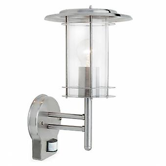 Pir 1 Light Outdoor Wall Light Polished Stainless Steel, Clear Polycarbonate Ip44