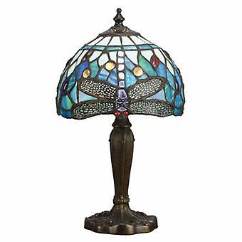 1 Light Table Lamp Dark Bronze, Blue, Tiffany Style Glass