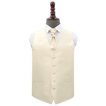 Beige Shantung Wedding Waistcoat & Cravat Set
