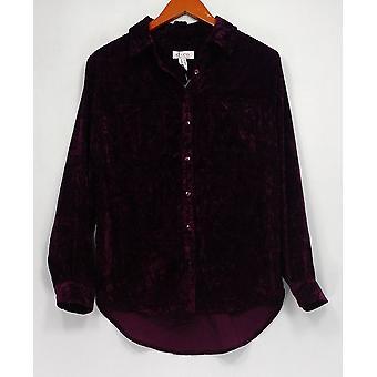 Denim & Co. Women's Top Crushed Velvet Long Sleeve Button Purple A300758