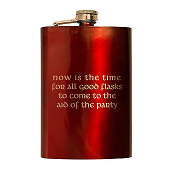8oz red now is the time flask l1