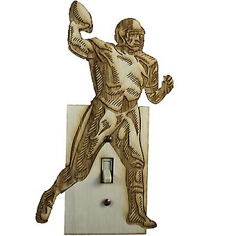 Football 2 switch plate - raw wood -5.2