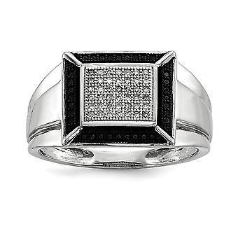 925 Sterling Silver Rhodium Plated Black and White Diamond Mens Ring - Ring Size: 9 to 11
