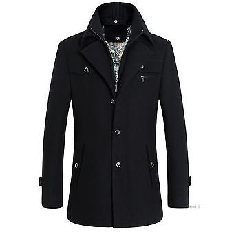 Allthemen Men's Stand Collar Solid Wool Warm Overcoat