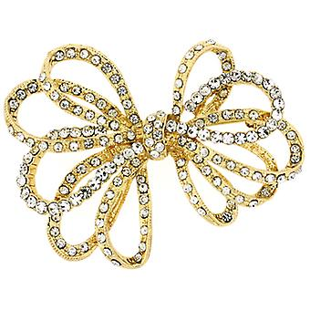 Brooches Store Gold & Crystal Open Ribbon Bow Brooch