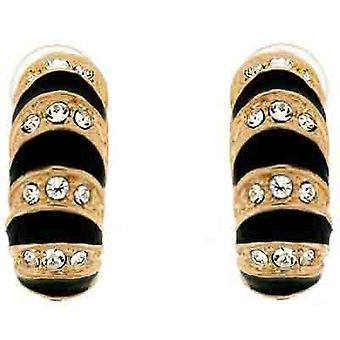 Clip On Earrings Store Gold & Black Enamel and Clear Swarovski Crystal Semi Hoop