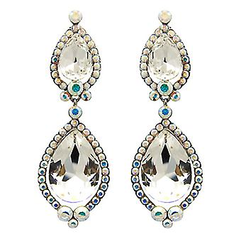 Butler & Wilson Long Crystal Double Pear Shape Drop Earrings