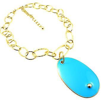 Kenneth Jay Lane Gold & Turquoise Blue Enamel Pendant