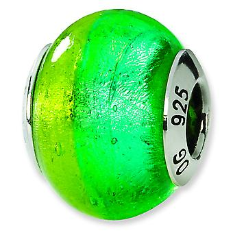 Sterling Silver Reflections Green Blue Italian Murano Bead Charm
