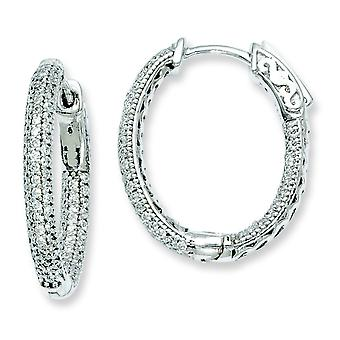 Sterling Silver Pave Polished Hinged hoop Safety clasp Rhodium-plated Rhodium Plated With Cubic Zirconia Hinged Oval Hoo