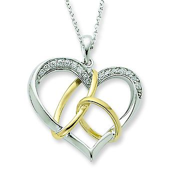 Sterling Silver and Gold-plated Cubic Zirconia To Have And To Hold 18inch Necklace