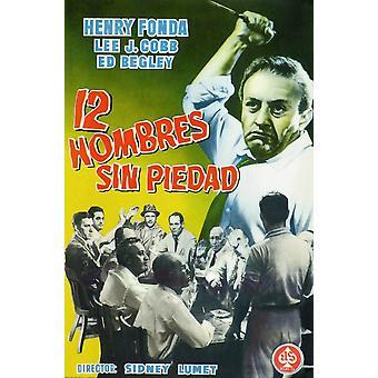 12 رجال غاضبون أعلى أسفل كوب ي لي الثاني من اليسار جاك قاع كلوغمن مركز هنري فوندا على ملصق الإسبانية الفن عام 1957 فيلم ملصق ماستيربرينت