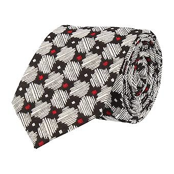 Mr. icone narrow tie Club tie black white patterned