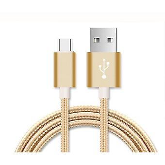 ONX3 (Gold) Premium Quality 2 Meter USB Type-C Cable Nylon Braided Fast Charging and Data Transfer Cable with Reversible Connector for HTC U Play