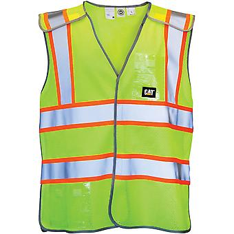 Caterpillar Unisex Neon Yellow Workwear Logo Detail on Chest Hi Vis Vest Lge