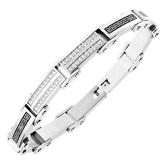 Iced out stainless steel micro pave CZ bracelet - 10mm silver