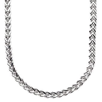 Iced uit roestvrij staal BOXED koord ketting - 4 mm zilver
