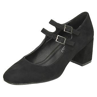 Ladies Spot On Blocked Heel Mary Jane Style Shoes F9922