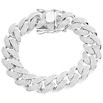 Premium Bling 925 sterling silver bracelet - MIAMI CURB 16mm
