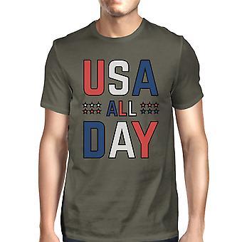 USA alla dag Mens mörkgrå rund hals T-Shirt patriotiska Presenttips