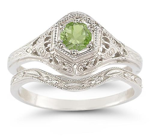Enchanted Peridot Bridal Set in .925 Sterling argent