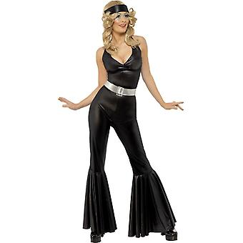 70s Diva black Catsuit costume head scarf and belt