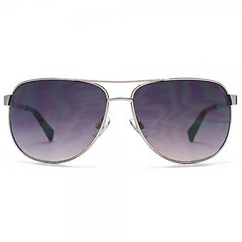 SUUNA Turin Groove Temple Aviator Sunglasses In Gunmetal