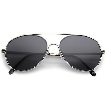 Classic Metal Aviator Sunglasses Crossbar Slim Arms Teardrop Lens 55mm