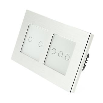 I LumoS Silver Brushed Aluminium Double Frame 5 Gang 1 Way Remote Touch LED Light Switch Black Insert