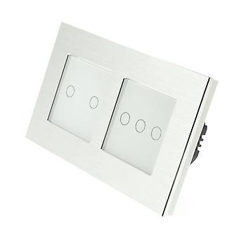 I LumoS Silver Brushed Aluminium Double Frame 5 Gang 1 Way Touch LED Light Switch White Insert
