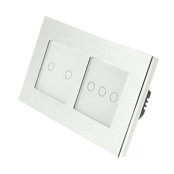 I LumoS argent Brushed Aluminium Double Frame 5 Gang 1 Way Remote Touch LED lumière Switch noir Insert