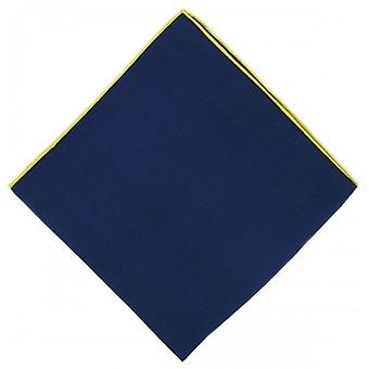 Michelsons of London Shoestring Border Handkerchief - Navy Blue/Yellow