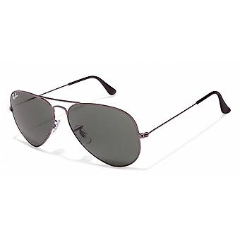 Ray-Ban Ray-Ban Silver Metal Aviator Sunglasses With Classic G15 Green Lenses