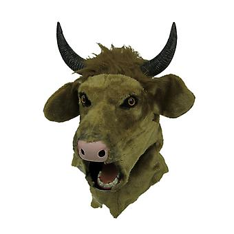 Brown Cow Moving Mouth Faux Fur Adult Horned Bull Mask