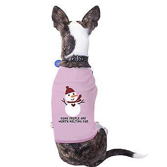 Waard smelten Snowman huisdier T-Shirt grappige vakantiegift voor Dog Lovers