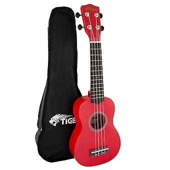 Tiger  Soprano Ukulele for Beginners in Red with Bag