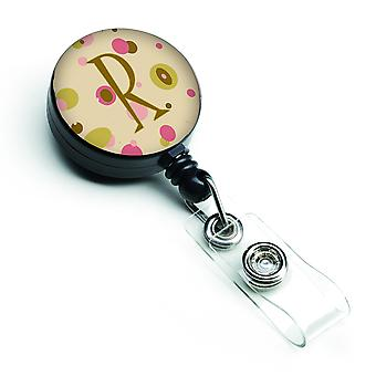 Letter R Initial Monogram - Tan Dots Retractable Badge Reel