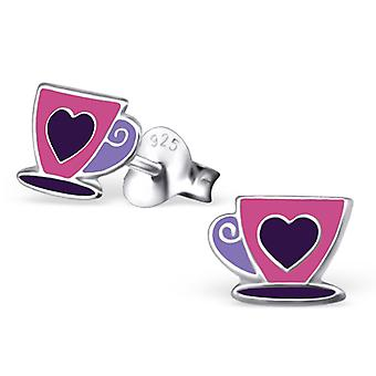 Tea Cup - 925 Sterling Silver Colourful Ear Studs