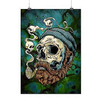 Matte or Glossy Poster with Head Face Beard Skull | Wellcoda | *d2757
