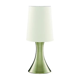 Antique Brass Slim Base Touch Table Lamp With Fabric Shade - Searchlight 3922ab