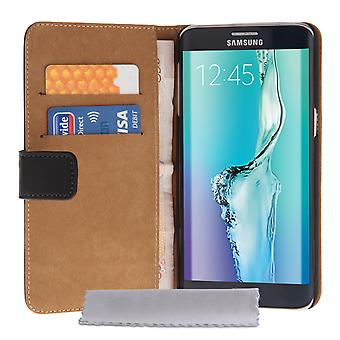 Samsung Galaxy S6 Edge Plus Real Leather Wallet Case - Black