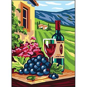 Collection D'Art Needlepoint Printed Tapestry Canvas 30X40cm-Wine And Grape CD6313