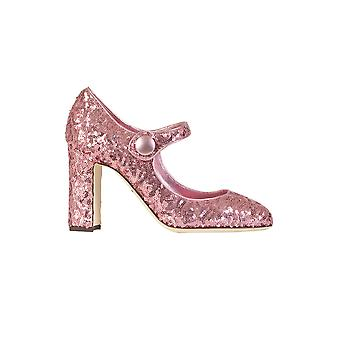Dolce E Gabbana ladies pink sequin heel shoes CD0615AE4278B404