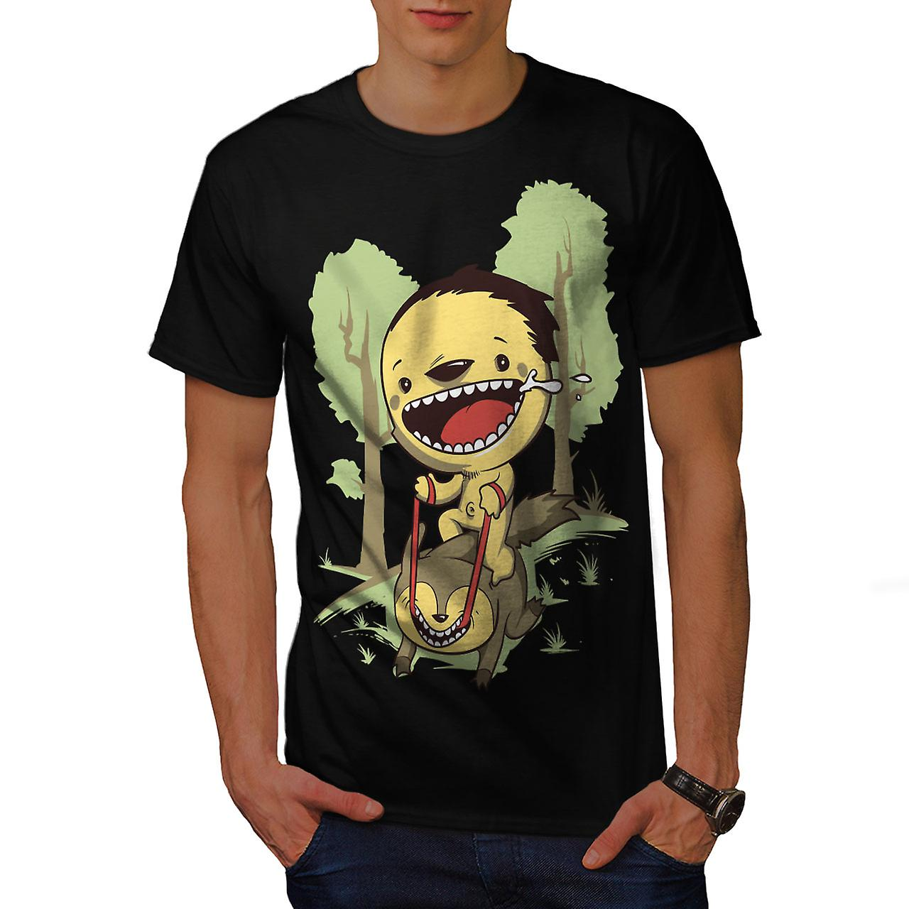 Cartoon Cute Forest Funny Men Black T-shirt | Wellcoda