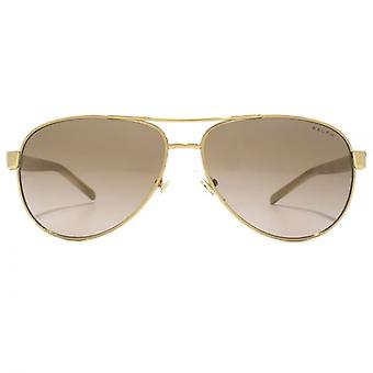Ralph By Ralph Lauren Pilot Sunglasses In Gold Cream Brown Gradient