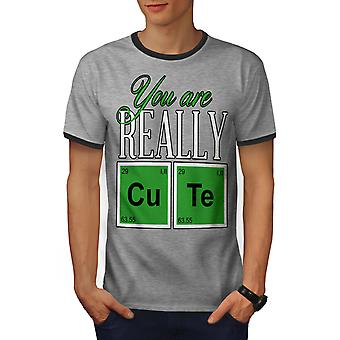 Cute Chemistry Geek Men Heather Grey / Heather Dark GreyRinger T-shirt | Wellcoda