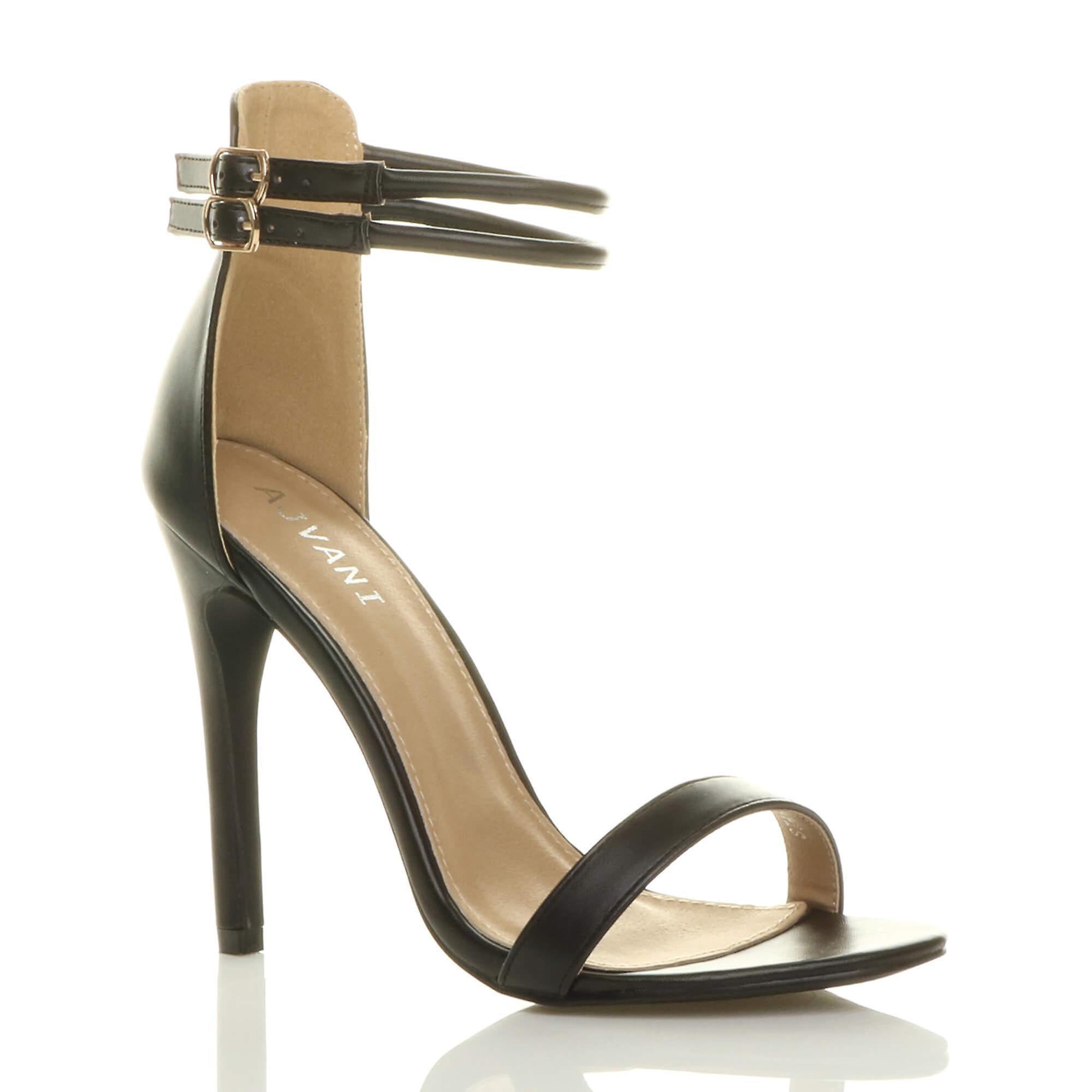 Ajvani Womens hohen Pfennigabsatz gibt es kaum Doppelband Schnalle Partei Sandalen Schuhe
