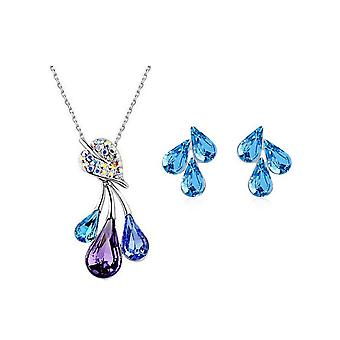 Rainbow Womens Jewellery Set of Flower Leaf Waterdrop Pendant Necklace and Earrings