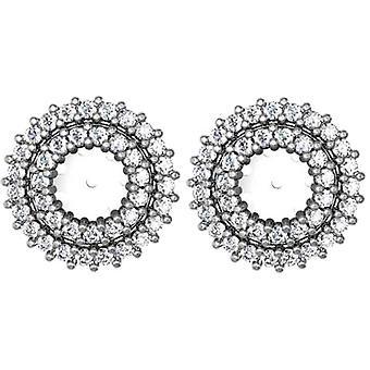 7 / 8ct бриллиант серьги шпильки двойной Halo куртки 14K Белое золото подходит 1 / 2ct камни (5-5,5 мм)